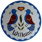"""Wilkum"" with two Distelfink, Heart and Wavy Border in the Blues"