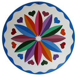 Colorful Twelve Point Rosette with Hearts