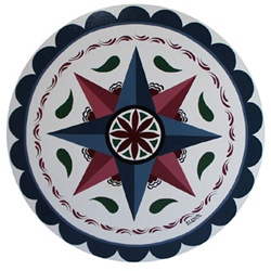 Two Four Pointed Stars with a Rosette, Raindrops and Circle