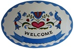 Classic Distelfinks with Tulips, Hearts and Name Banner in the Blues color scheme