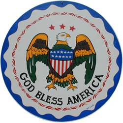 "An American Eagle with Raindrops, Wavy Border and ""God Bless America"""