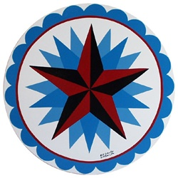Red and Black Star, with secondary Blue Stars, with Circle